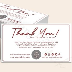 """Thank You Card Customized with Your Logo 4"""" x 6"""""""